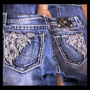 Miss Me Bootcut Jeans with Wings & Sparkle Pockets